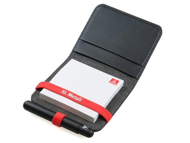 Notizbuch für Haftnotizen und Kugelschreiber