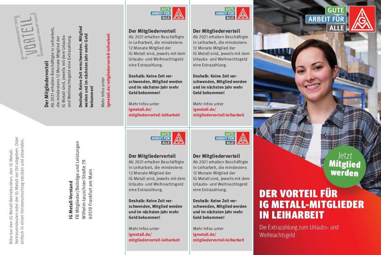 """Flyer """"Der Vorteil für IG Metall-Mitglieder in Leiharbeit"""""""