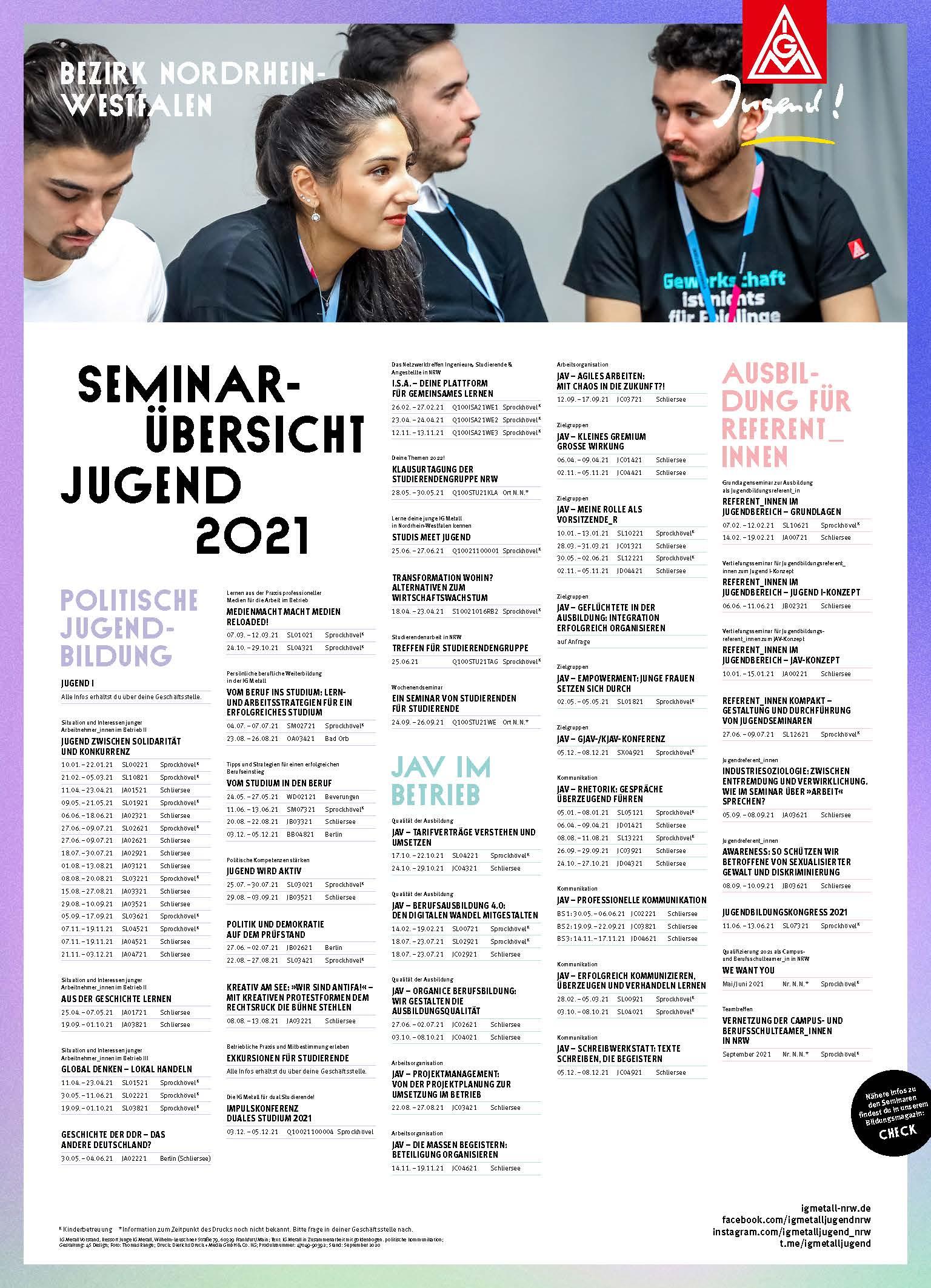 Infoplakat zum Jugendbildungsprogramm 2021