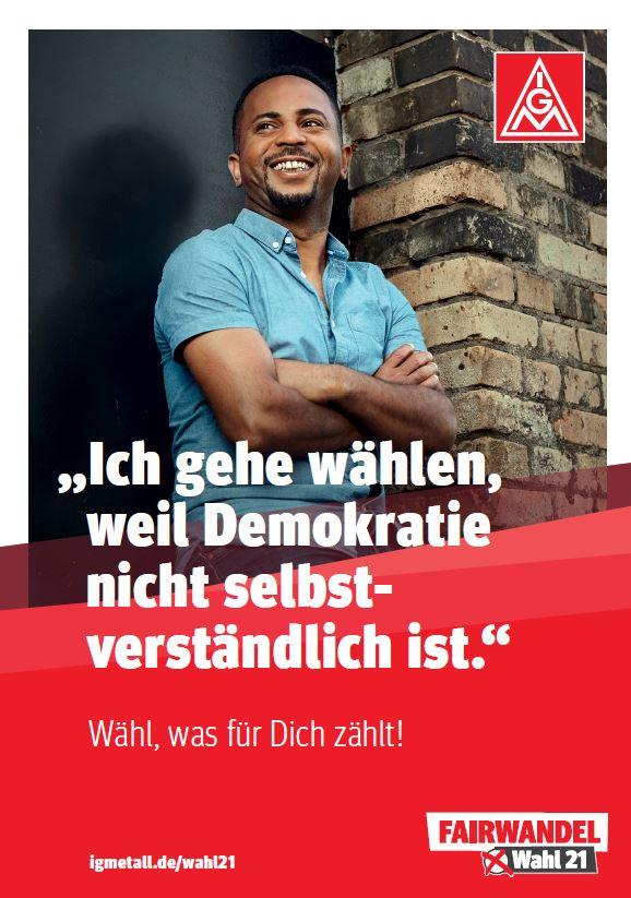 Plakat Alazar: Ich gehe wählen, weil Demokratie nicht selbstverständlich ist